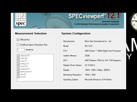 AMD WX 7100 + Ryzen 1800X SPECviewperf 12.1 Benchmark Results