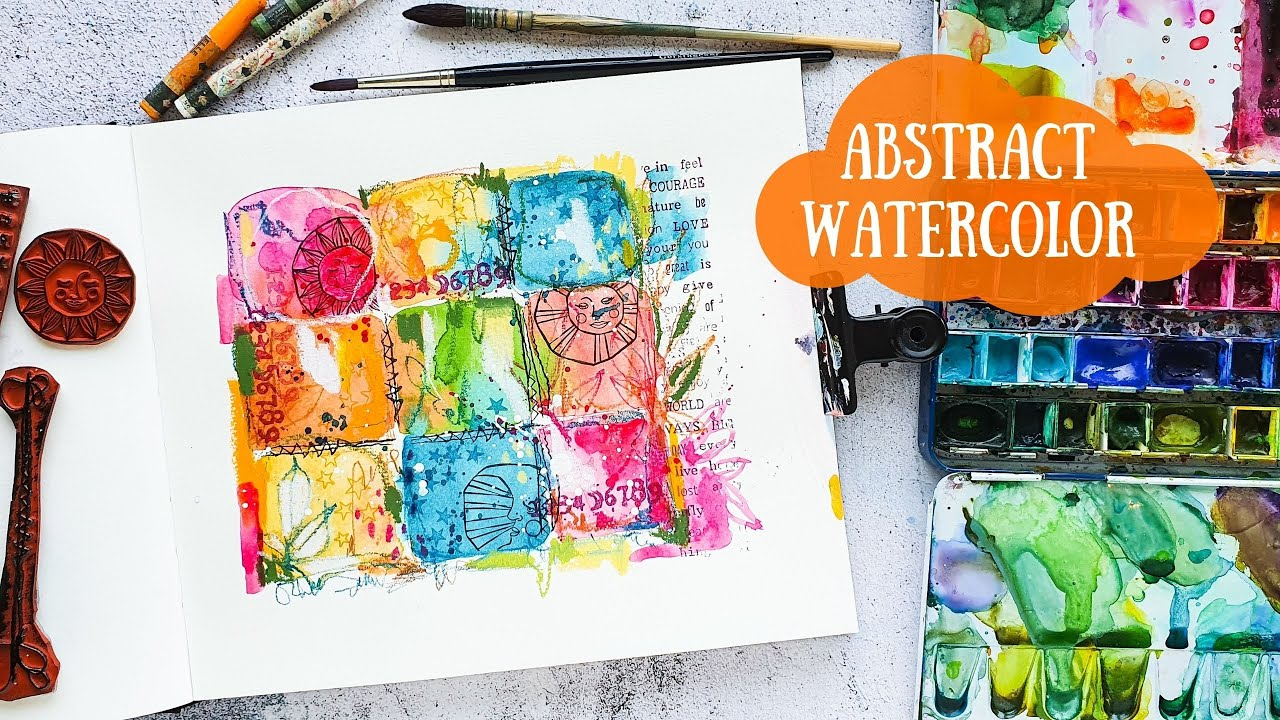Abstract Watercolor Art Journal Page - Mixed Media Style