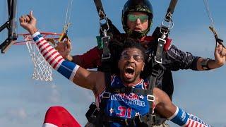 Highest SLAM DUNK | Skydiving Edition | Harlem Globetrotters Video