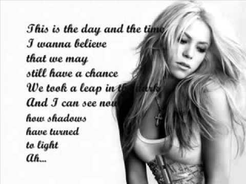 Shakira The Day and the Time Lyrics