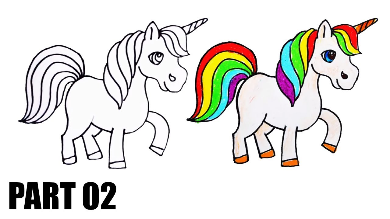 How To Draw And Color A Rainbow Unicorn For Kids Part 02 Youtube