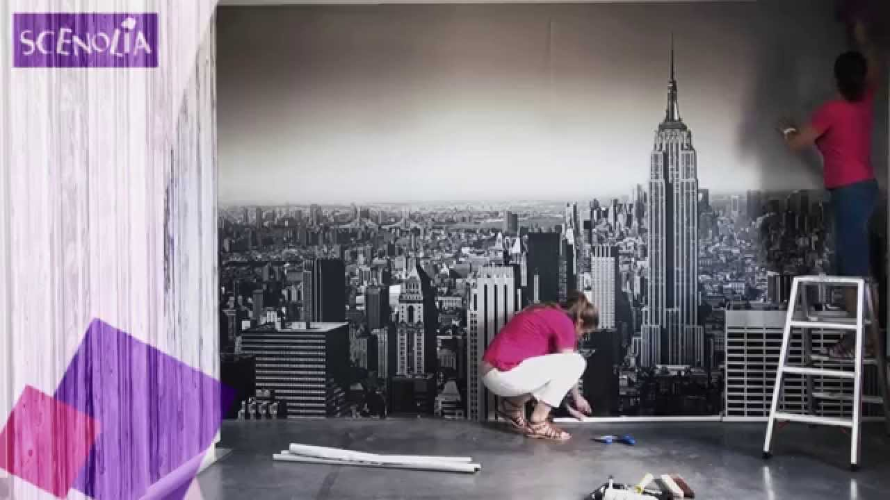 pose de la toile textile panoramique en l s coller 11 39 youtube. Black Bedroom Furniture Sets. Home Design Ideas