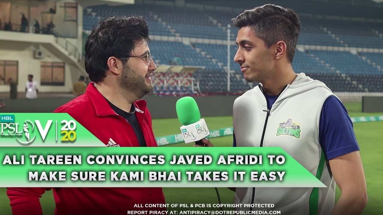 Watch as Ali Tareen convinces Javed Afridi to make sure Kami bhai takes it easy | HBL PSL 2020