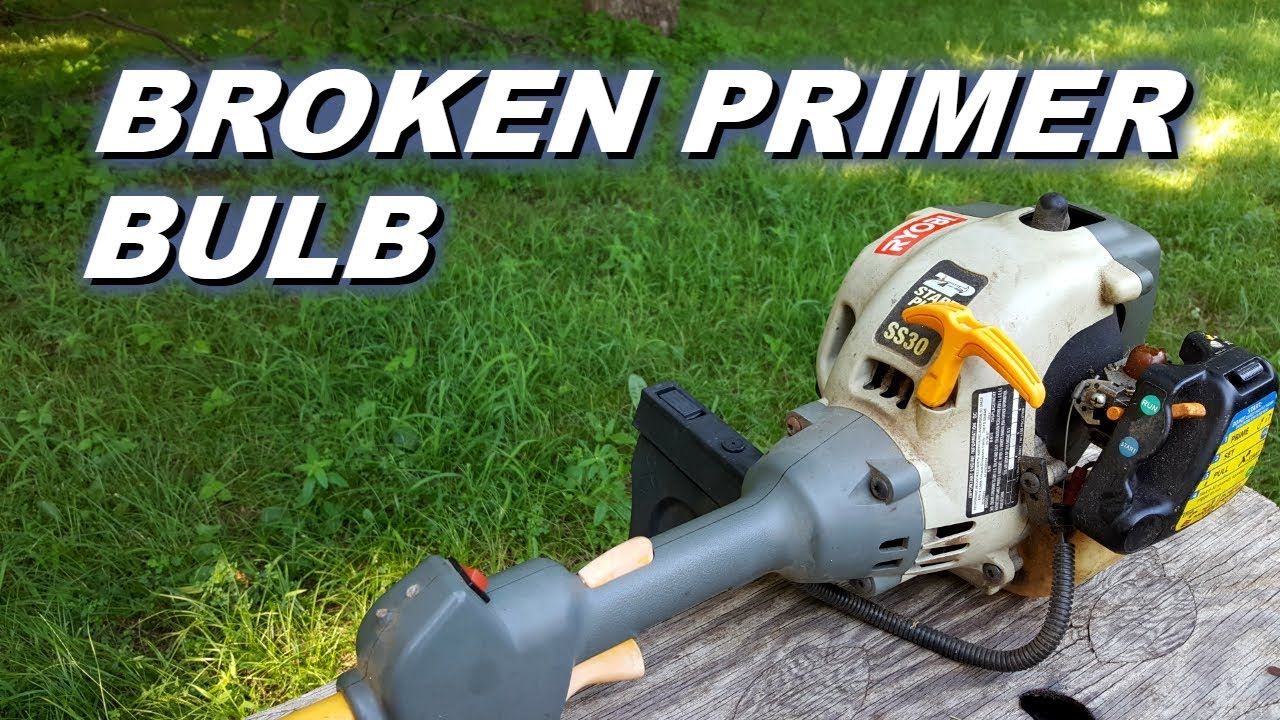 Ryobi trimmer won't start with a broken primer bulb