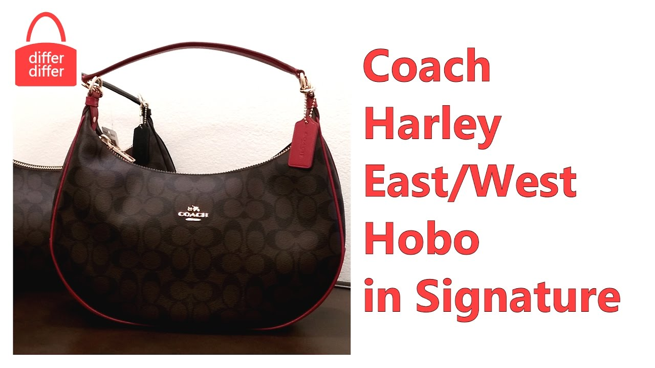1909bf3abe Coach Harley East West Hobo in Signature 38267 - YouTube