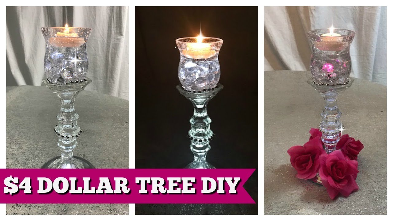 Diy Dollar Tree Home Decor 4 Candle Holder Youtube