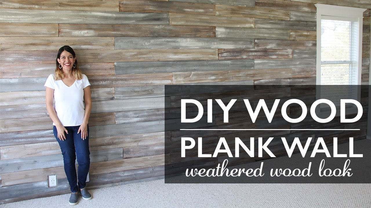 Diy Wood Plank Wall Painted With Chalk Paint Weathered Look