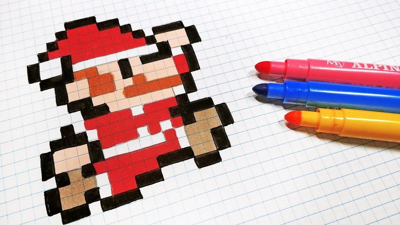 Christmas Pixel Art How To Draw Santa Claus Mario Bros Pixelart