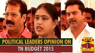 "Political Leaders Opinion on ""Tamil Nadu Budget 2015″"