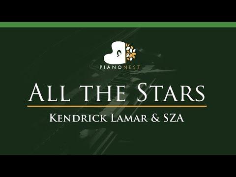 Kendrick Lamar & SZA - All the Stars - LOWER Key (Piano Karaoke / Sing Along)