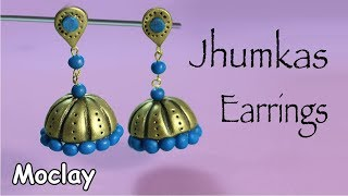 DIY Polymer Clay Jhumkas earrings -  Easy Jewelry tutorial
