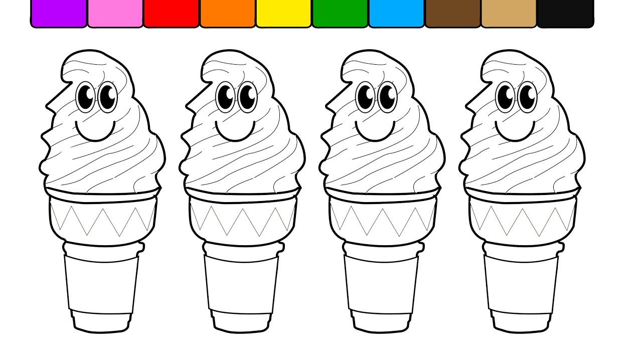 Learn Colors For Kids And Color With Smiley Face Ice Cream Cones Coloring Pages