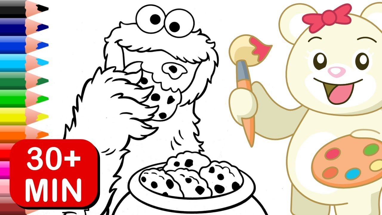 Cookie Monster Sesame Street Coloring Pages For Kids - YouTube