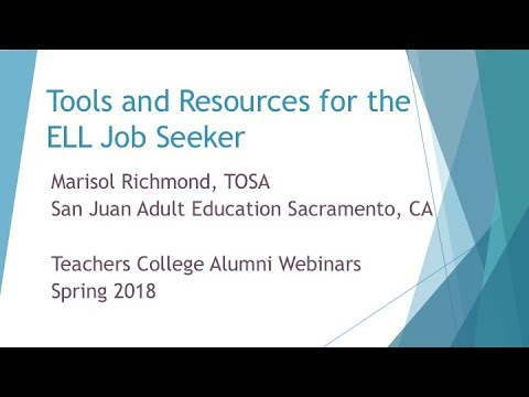 Tools and Resources for the ELL Job Seeker