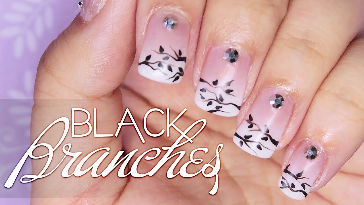 Remake Black Branches Nail Art Tutorial French Ombre Nail Art At