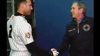 President Bush Visits Yankee Stadium