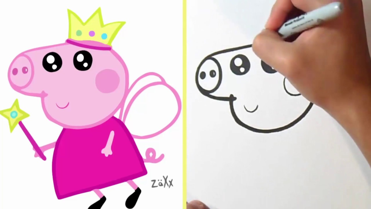 How to Draw Cute Peppa Pig Sketching Coloring  YouTube
