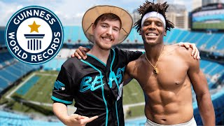Download Breaking Dude Perfect's World Records with Mr Beast | Cam Newton Vlogs Mp3 and Videos
