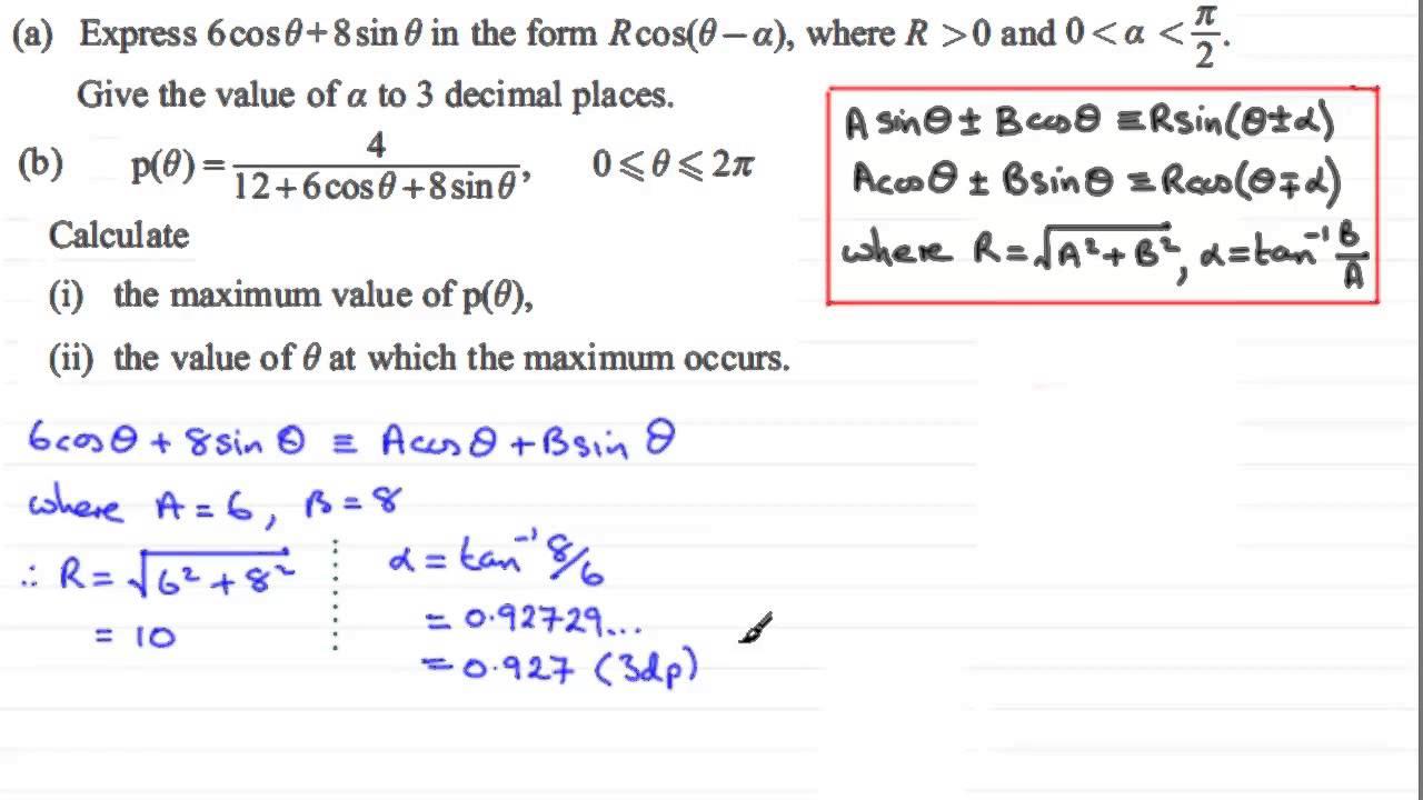 Rcos(x-alpha) method : C3 Edexcel January 2013 Q4 : ExamSolutions ...