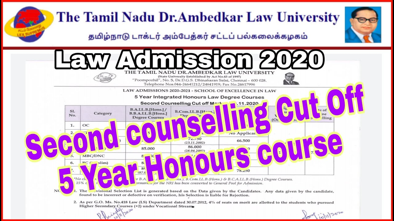 Second Counselling 5 year Honours Course  (SOEL) CUT OFF || TNDALU Law Admission 2020