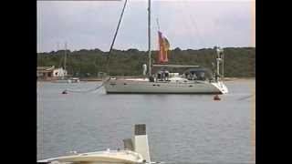 Million Pound Super-yacht leaving her mooring in Majorca Baleraric Islands Spain