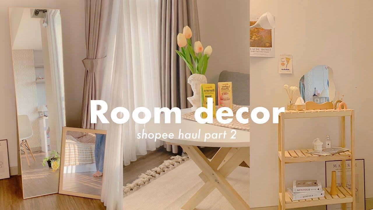 shopee haul 15.15 ROOM DECOR AESTHETIC KOREAN STYLE ✨🇰🇷Standing mirror, rak  kayu, lampu sorot