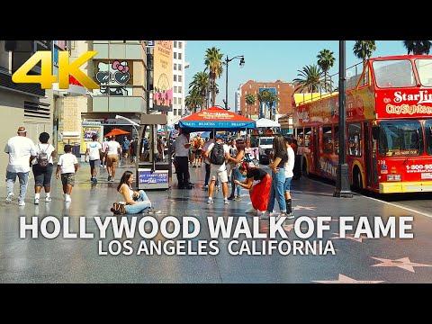 LOS ANGELES - Walking Hollywood Walk of Fame, Hollywood Blvd, California, USA, Travel, 4K UHD