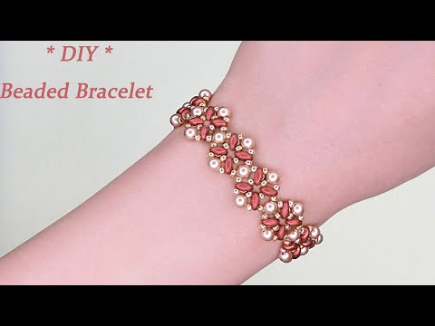 DIY Beaded Vintage Bracelet with Bronze Red Two Hole Duo Beads and Gold Pearls 复古风串珠手链