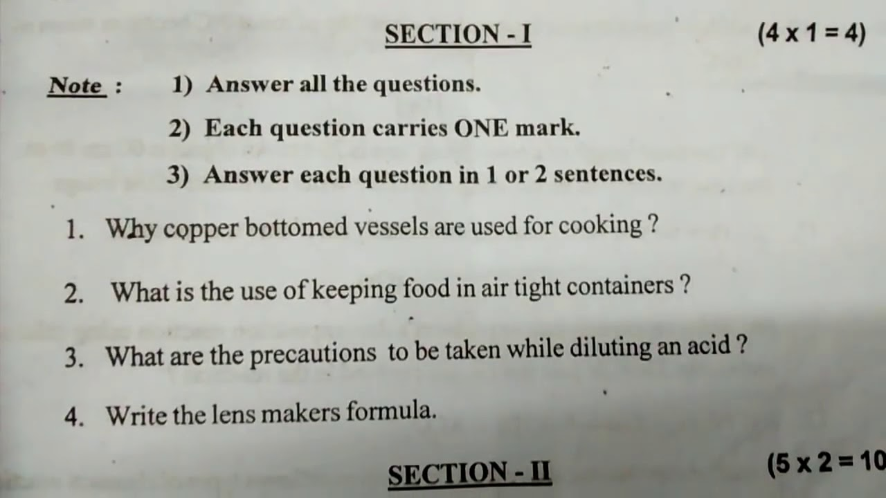 AP SSC 10th class physical science question paper 2018