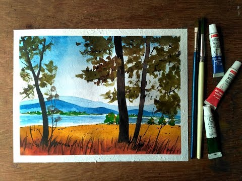 Simple Landscape Painting with Watercolor – Paint with David