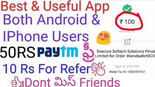 Earn UNLIMITED PaytmCash||How To Earn Free PaytmCash 50Rs Free+10Rs Per REFER//Secure App In Telugu