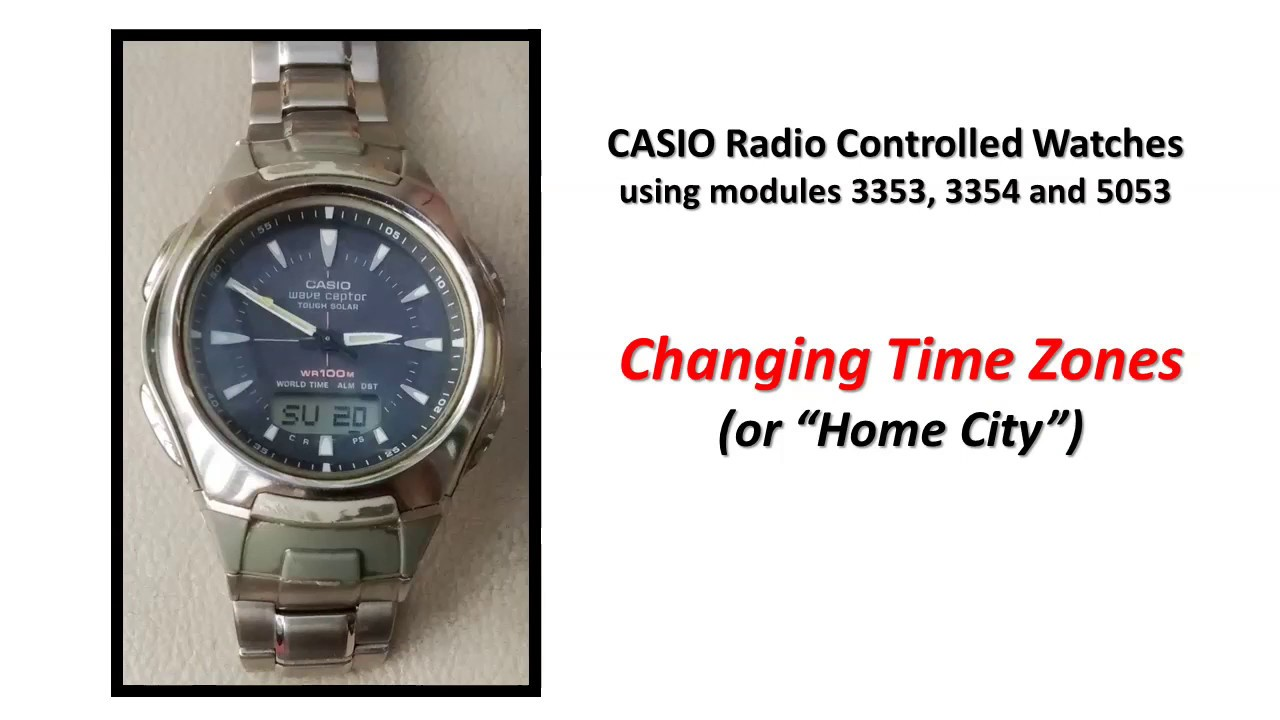 ca1f904d60b Changing time zones on Casio Waveceptor watch