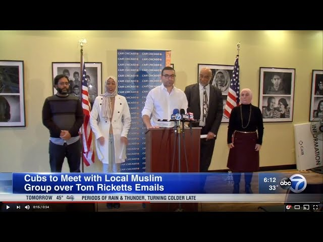 Video: Cubs Chairman Tom Ricketts to Meet with CAIR-Chicago Over Islamophobic Emails