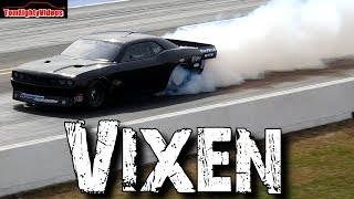 "Vixen: 4,500hp Twin Turbo ""Hemi"" Dodge Challenger big tire car Drag Racing"