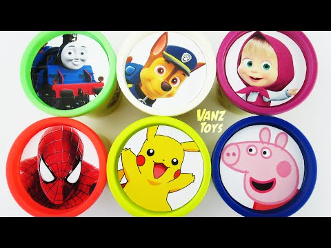 Thumbnail: Vanz Toys - Play Doh Clay Surprise Cups Toys with Paw Patrol Thomas Masha Pikachu Peppa Pig Molds