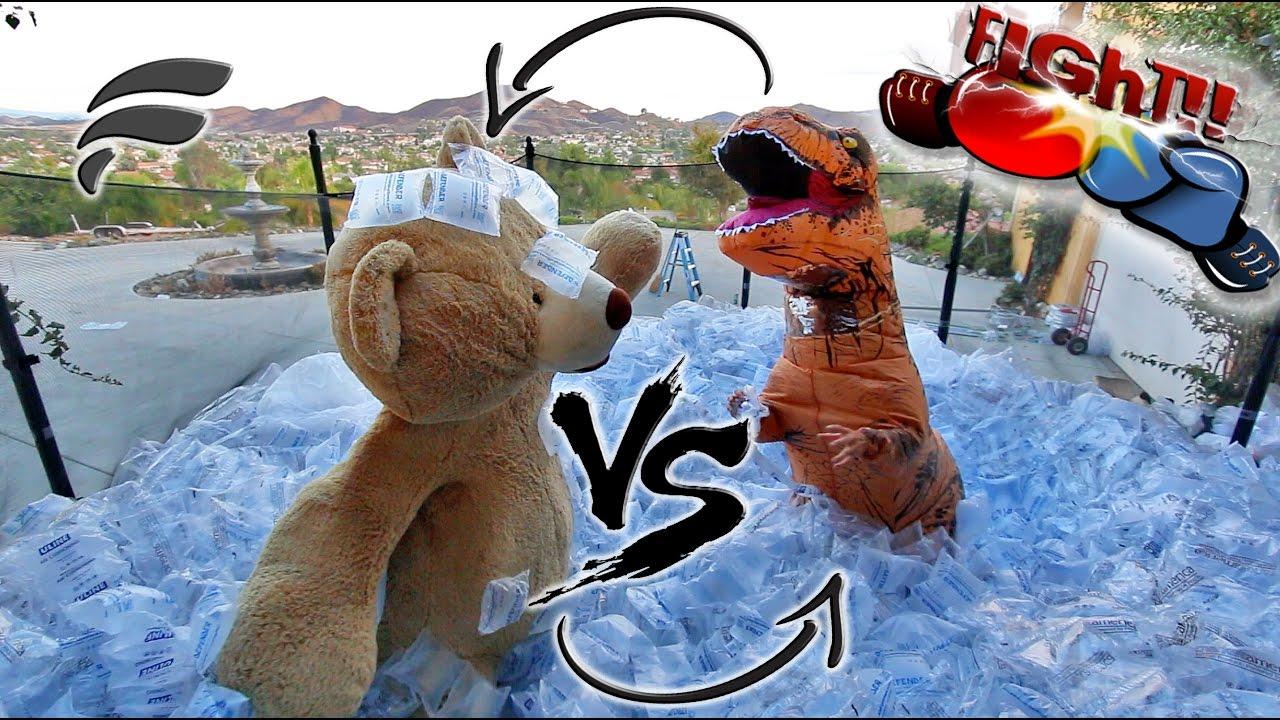 Trampoline Fight Giant Teddy Bear Vs Trex So Funny