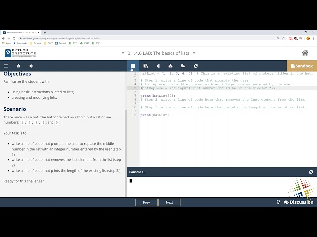Python Institute lab 3.1.4.6
