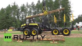 Germany: Women foresters rip up trees at forestry harvesting comp