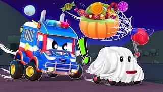 الشاحنة الخارقة !الهالوين: الشبح سبايدر مان يسرق الحلوى الشاحنة الخارقة - تطبيق عالم مدينة السيارات