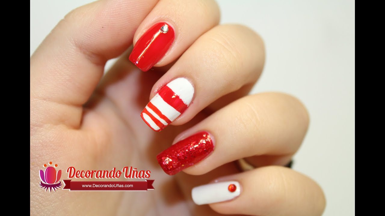 Uñas Decoradas Con Lineas Rojas Youtube