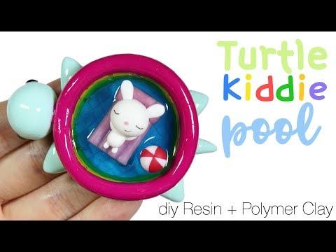 How to DIY Turtle Kiddie Pool + Bunny&Floatie Polymer Clay/Resin Tutorial