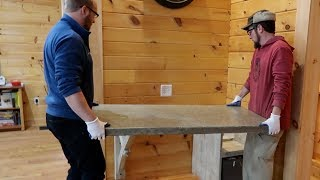 Installing Our Concrete CounterTop Desk ~ Finishing the Top