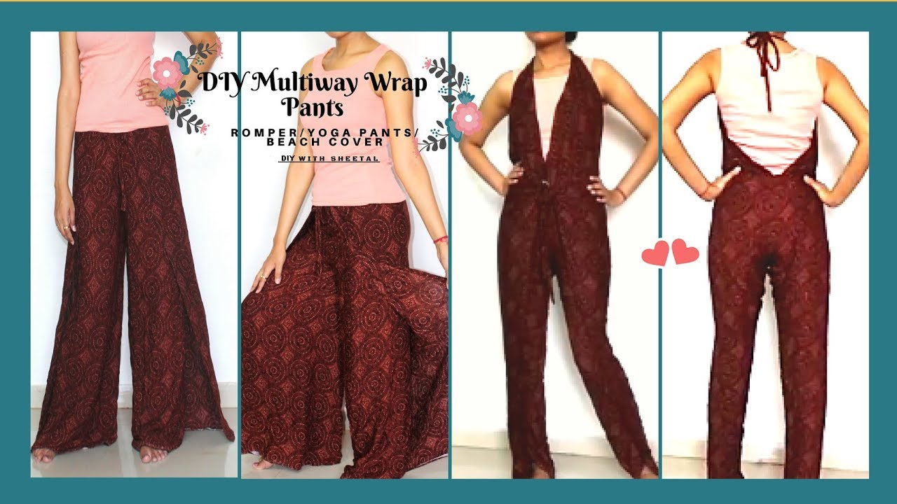 eec148585e50 DIY  How to Cut   Sew Multi Way Wrap Pants in 10 minute
