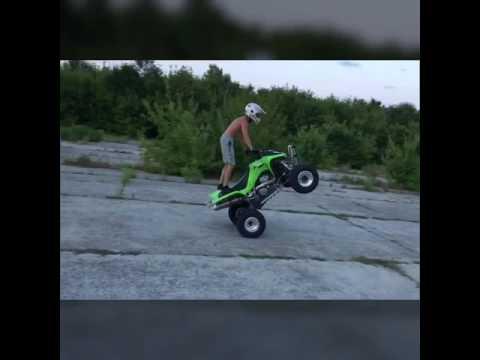 Стант на квадроцикле - Stunt on quad Kawasaki