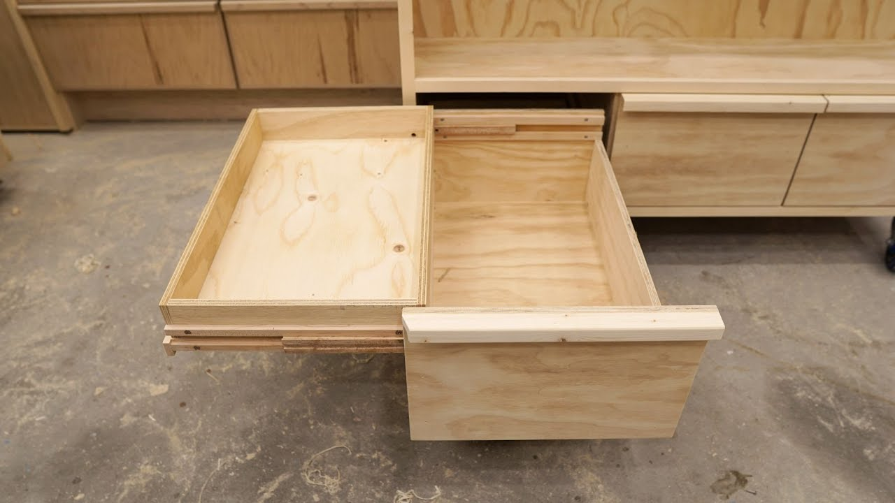 Double Deck Drawers On Wooden Full Extension Slides - YouTube