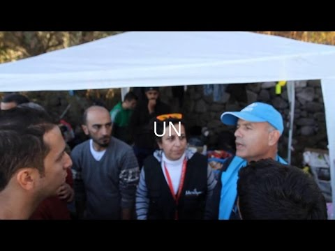 United Nations gets involved - Lesbos Greece - raw footage