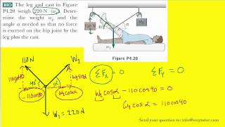 The leg and cast in Figure P4.20 weigh 220 N (w1). Determine the weight w2 and the angle alpha neede