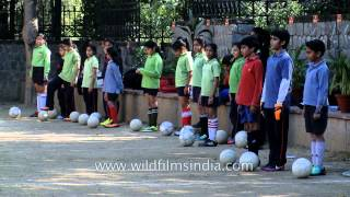 Enthusiastic students of The Shri Ram School learning football
