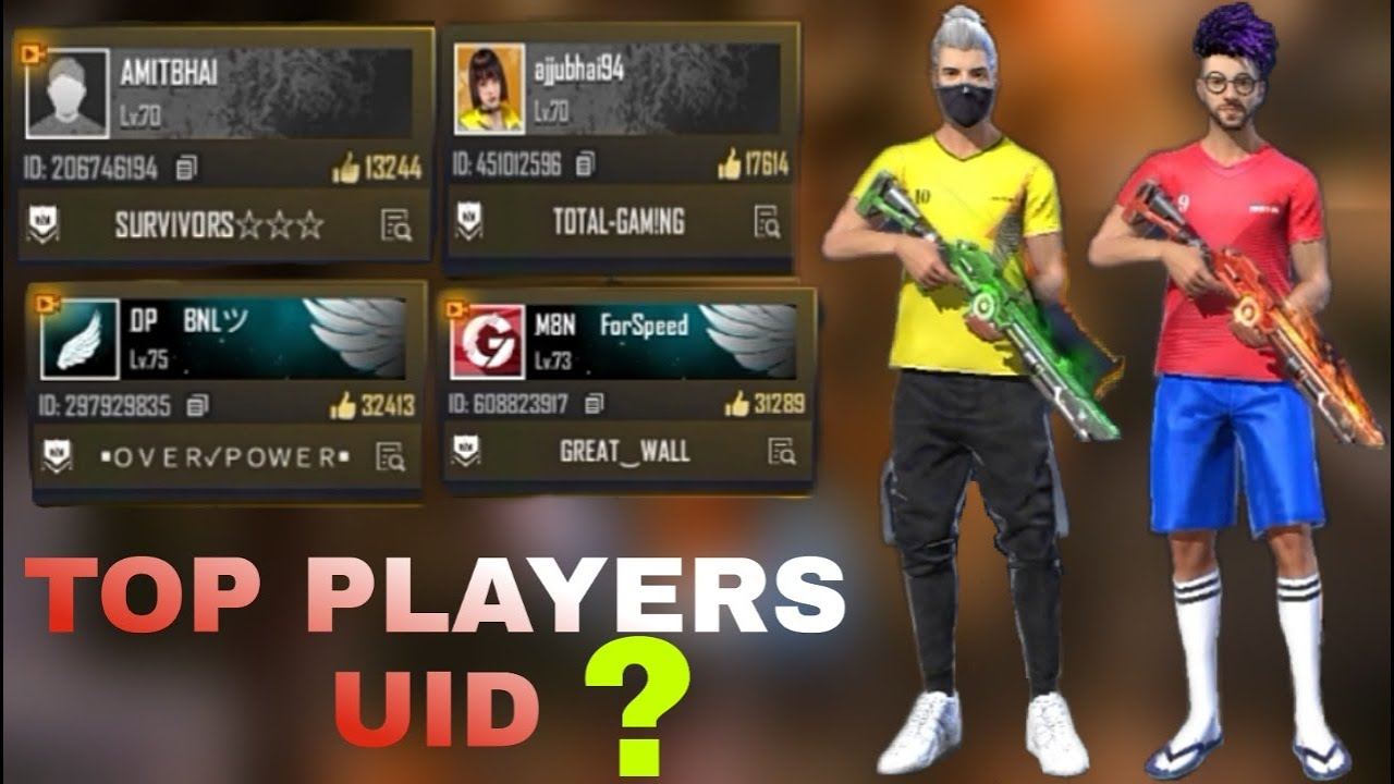 Free Fire Top Players Uid Number Free Fire Famous Youtubers Id Youtube