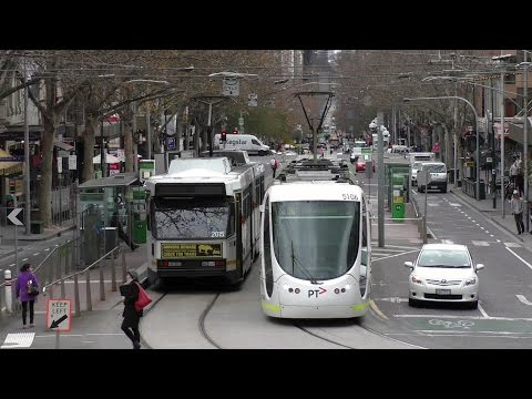 Melbourne Trams Bourke and Spring St Melbourne 15th July 2016